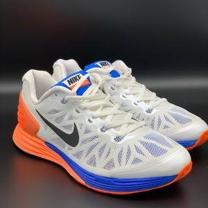 NIKE Lunar Glide6 White Blue Running Shoes Sz 6y.